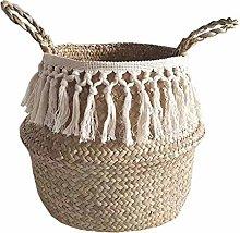FiedFikt Seagrass Wicker Basket Flower Pot Folding