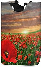 Field Red Poppies Laundry Basket Sunset Orange