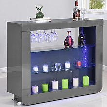 Fiesta Bar Table Unit In High Gloss Grey With LED