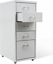 File Cabinet with 5 Drawers Grey 68.5 cm Steel