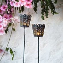 Filigree Torch Lanterns – Set of 2, Black, One