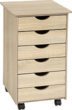 Filing cabinet on wheels with 6 drawers - light oak