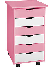 Filing cabinet on wheels with 6 drawers - rose