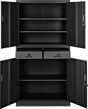 Filing cabinet with 2 drawers - black