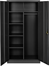 Filing cabinet with 6 drawers and rail - black