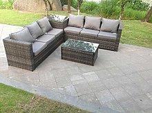 Fimous 6 Seater Grey Rattan Corner Sofa Set 2