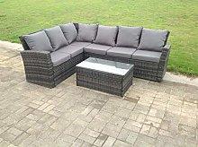 Fimous 6 Seater Grey Rattan Corner Sofa Set Oblong