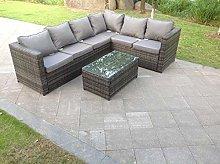 Fimous 6 Seater Grey Right Hand Rattan Corner Sofa