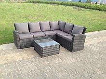 Fimous 6 Seater High Back Grey Rattan Corner Sofa