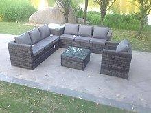 Fimous 7 Seater Grey Rattan Corner Sofa Set 2