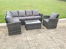 Fimous 7 Seater Grey Rattan Corner Sofa Set Dining