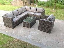 Fimous 7 Seater Grey Rattan Corner Sofa Set Oblong