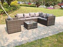 Fimous 7 Seater Grey Right Arm Rattan Corner Sofa