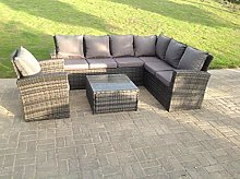 Fimous 7 Seater High back rattan corner sofa set