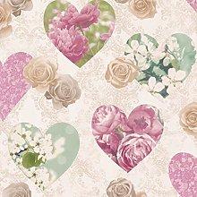 Fine Décor - Cream, Pink & Blue Vintage Hearts