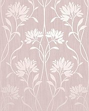 Fine Decor Mia Floral Wallpaper Metallic Feature Wall Large Flower Wallpaper