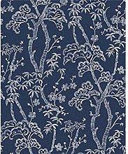 Fine Decor Indigo Blue Bonsai Trees Floral