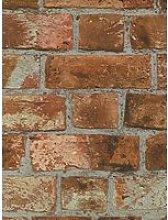 Fine Décor Rustic Orange Brick Wallpaper