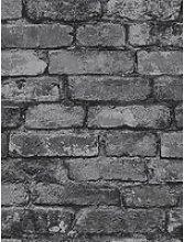 Fine Décor Rustic Silver Brick Wallpaper
