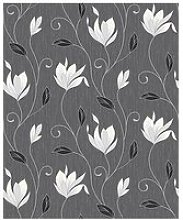 Fine Décor Synergy Ebony Floral Glitter Wallpaper