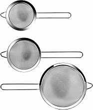 Fine Mesh Strainer Set with Polished Rim and