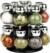 Finetree Rotating Revolving Plastic 16 Jar Spice