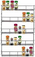 FINEWAY Chrome 5 Tier Spice Herb Jar Rack Holder