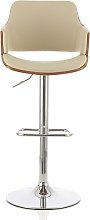 Finnley Bar Stool In Walnut And Cream PU With
