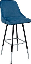 Fiona Blue Fabric Bar Stool With Metal Legs