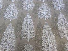 Fir Trees Camel Beige Cotton Designer Material