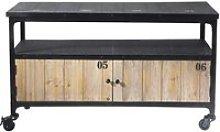 Fir wood and metal industrial TV unit on castors