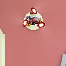 Fire Engine ceiling light, red and yellow, 3-bulb