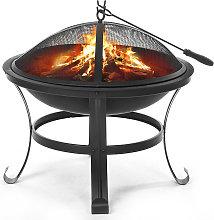 Fire Pit 56X56X45cm BBQ Grill Shelf Brazier
