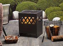 Fire Pit Heater Black Steel Square Outdoor Garden