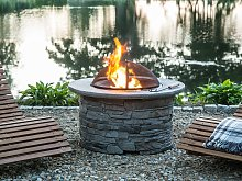 Fire Pit Heater Grey Black Mesh Cover Round Outdoor