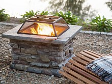 Fire Pit Heater Grey Black Mesh Cover Square