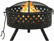 Fire Pit with Poker 68 cm XXL Steel - Youthup