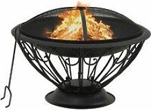 Fire Pit with Poker 75 cm XXL Steel - Black -