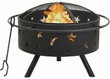 Fire Pit with Poker 76 cm XXL Steel - Black -