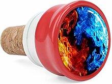 Fire Red Blue 3D Print Wine Cork Wine Bottle