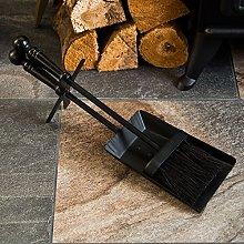 Fire Vida Hearth Shovel And Brush Set, Black