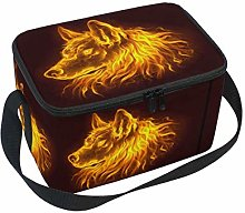 Fire Wolf Head Lunch Boxes Bag, Orange Animal