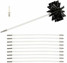 Fireplace brush contains 9 flexible rods and 1