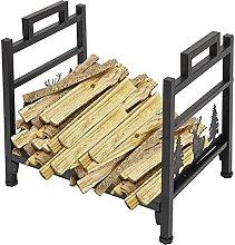 Fireplace Log Frame, Black Metal Firewood Storage