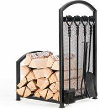 Fireplace Log Rack with Tong, Brush, Shovel and