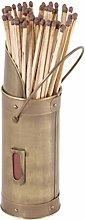 Fireplace Matchstick Holder Brass Metal Canister &