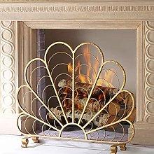 Fireplace Screen MYL Single Panel Gold Finish Iron