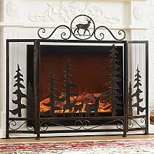 Fireplace Screens Home Fire Guard with Deer & Pine