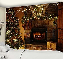 Fireplace Tapestry Christmas Wall Mount Christmas