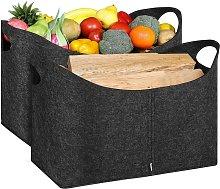Firewood Basket Set of 2 Wood Bag Foldable